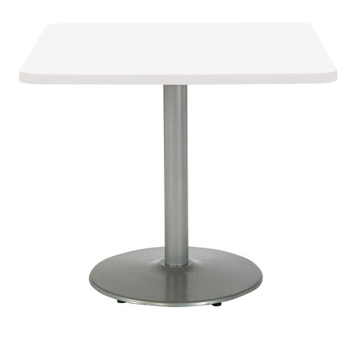 """Our 36"""" Square Laminate Pedestal Table with Designer White Top - Round Silver Base is on sale now."""