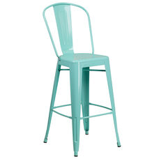 """Commercial Grade 30"""" High Mint Green Metal Indoor-Outdoor Barstool with Back"""