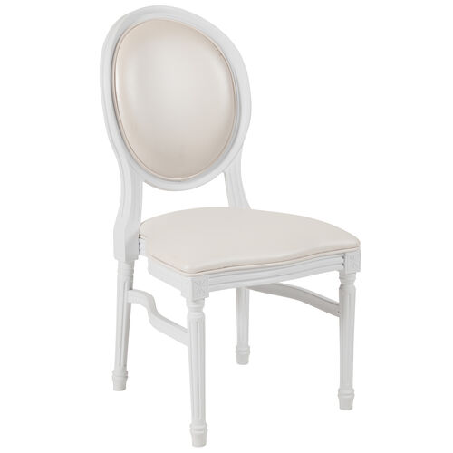 HERCULES Series 900 lb. Capacity King Louis Chair with White Vinyl Back and Seat and White Frame