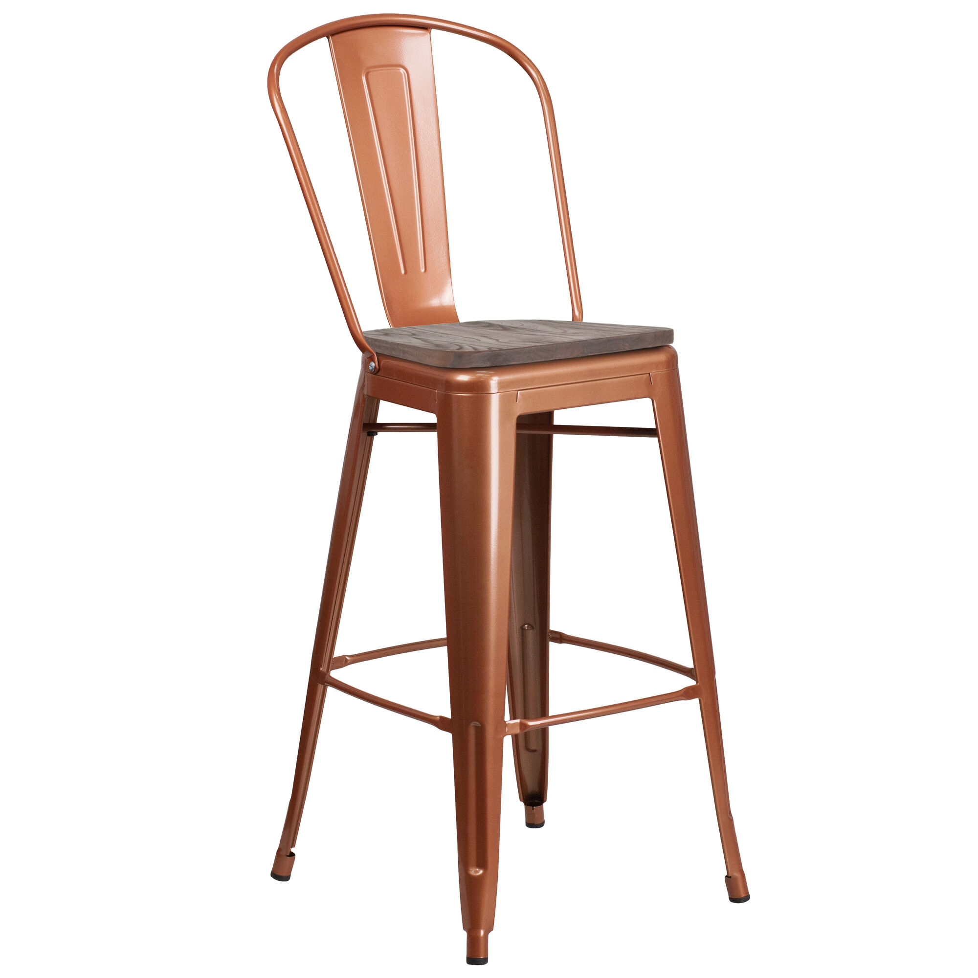 Strange 30 High Copper Metal Barstool With Back And Wood Seat Onthecornerstone Fun Painted Chair Ideas Images Onthecornerstoneorg