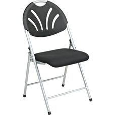 Work Smart Plastic Folding Chair with Fan Back and Padded Mesh Seat - Set of 4 - Black with Silver Frame