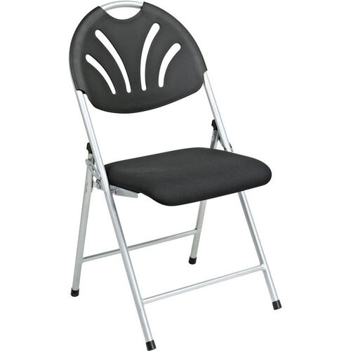 Our Work Smart Plastic Folding Chair with Fan Back and Padded Mesh Seat - Set of 4 - Black with Silver Frame is on sale now.