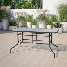 "31.5"" x 55"" Rectangular Tempered Glass Metal Table"